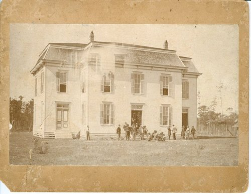 This is the historic photo of the first courthouse in Kountze, built in 1887.