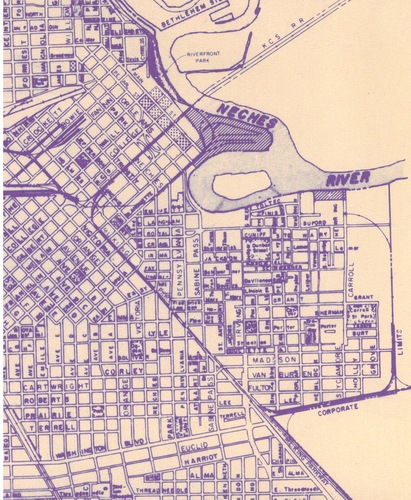 This partial map of Beaumont shows Harbor Island, center (between the words Neches and River), location of the fireworks display at Beaumont's Deep Water Festival