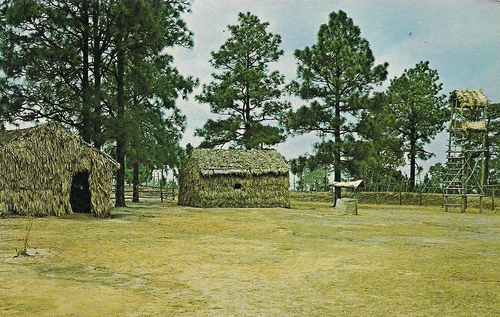View of some of the huts that were located inside Tiger Ridge Vietnam Village. (Rickey Robertson Collection)