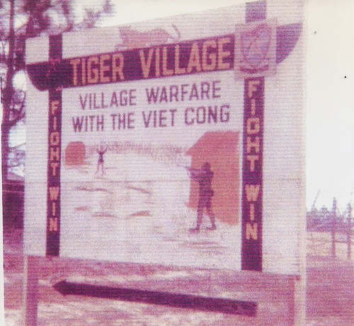 Sign that was posted outside the Vietnam Village stating training for battle against the Viet Cong (Rickey Robertson Collection)