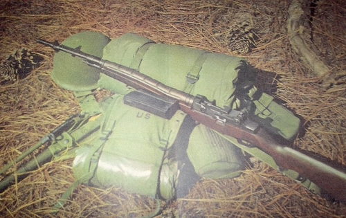 The basic trainee's field equipment included the M-14 rifle, bayonet, and combat harness and pack. (Rickey Robertson Collection)